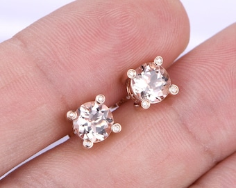 18K Rose Gold Earing,6mm Round Cut Morganite Earing,VS Morganite,Peachy Morganite,SH-I Diamond Prong,Pink morganite is available