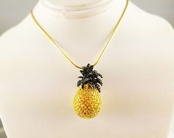 Sunil Swarovski white & green crystal pineapple necklace w/adjustable 18k gp chain