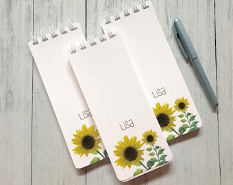 Sunflower Spiral Bound, Set of 3 Personalized Note Pads, To-Do Lists,  Grocery List, Birthday Gift, Lined Paper, Monogrammed, Notepad