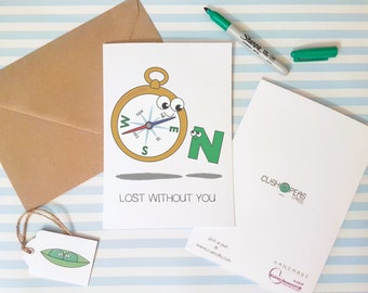 Lost Without You - Best Friend Birthday Card - Alternative Friend Card - Quirky Friendship Card - Cute BFF Bestie Birthday - Charity Card
