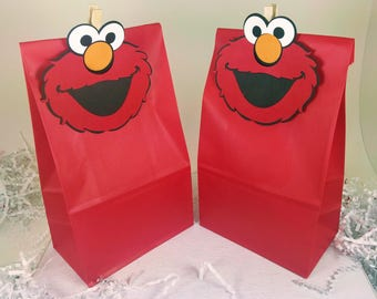 Elmo Treat Bags, Elmo Party Favors, Elmo Birthday, Sesame Street, Elmo Decor, Elmo Favor Bags