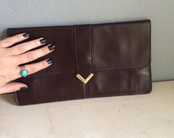 vintage, brown, clutch purse, leather, with brass hardware