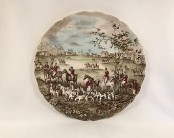 Vintage Johnson Bros. Display Plate from the Tally Ho Series Titled 'The Meet' c1940's