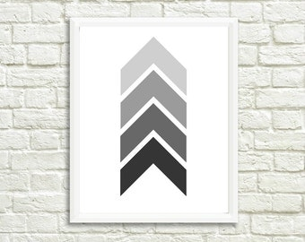 Black and White Up Arrows Print