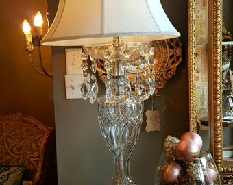 Monumental Antique Crystal Lamp with Beautiful Prisms and Dolphin Base