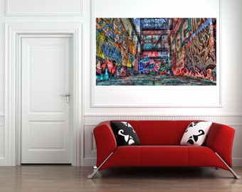 "Graffiti Street Art, Spray can art- Canvas Print 30""x20"" WoW! Urban Art"