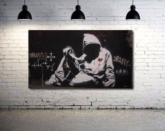 Banksy Hoodie - Rare Version Street art Canvas 36 x 20 Giclee Print