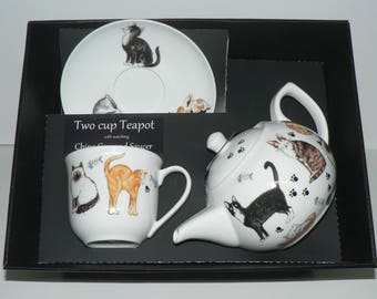 Cats Teapot cup and saucer gift boxed