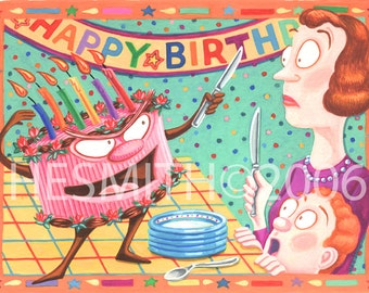 Dueling Devil's Food - Funny Birthday Card - Blank Birthday Card - Card For Children