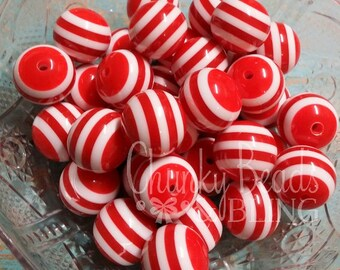 10pc. 20mm Red Striped Resin Beads
