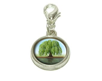 Old Weeping Willow Tree Dangling Bracelet Pendant Charm