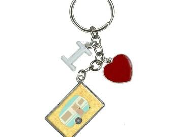 Camper Trailer Rv Camping I Heart Love Keychain Key Ring