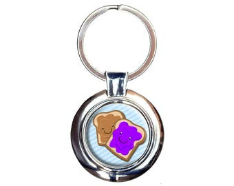 Peanut Butter And Jelly Keychain Key Ring