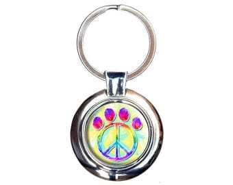 Paw Print Peace Sign Keychain Key Ring