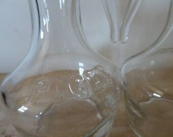 Puget Oil Bottles, Vinegar Bottles, Pair Puget Decanters, Vintage French 0317032-167