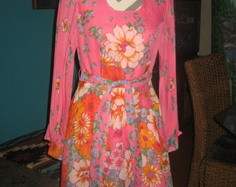 1960s Shocking Pink with Flowers Short Party  Dress, fully lined, sheer long sleeves, matching belt
