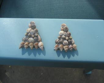 Handmade Seashell/Shells Triangle Earrings/Beach Summertime Earrings