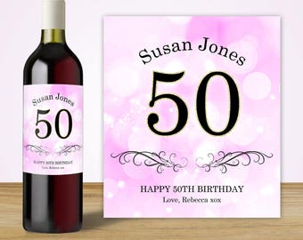 50th Birthday Gift for Women, 50th Birthday Party Decorations, Custom Wine Label, 50th Birthday Ideas, 50th Birthday Gift Ideas
