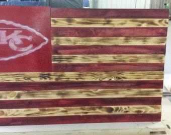 Rustic, Handmade, KC Chiefs, Wall Hanging,