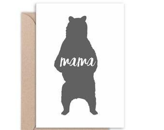 Mama Bear Silhouette Card | Choose a colour | Mother's Day Card | Thanks Mum | Thanks Mom | Handmade | C6