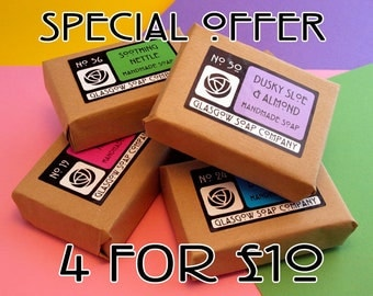 Handmade Soap - Special Offer - 4 for 10 Pound - Sale -Teachers Gift -  Soap Gift Box - Gift Set - Scottish Gift - Vegan Soap - Aromatherapy