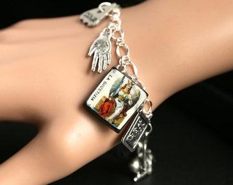 Tarot Bracelet. Justice Charm Bracelet. Divination Bracelet. Silver Bracelet. La Giustizia Bracelet. Tarot Jewelry. Metaphysical Jewelry.