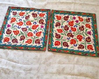 Silk Embroidered Pillowcases. Two Decorative Pillowcases Hand Embroidered With Silk Thread (A1)
