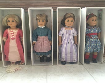 2 American Girl Dolls, Felicity and Emily, all with hard cover books, in original box, Excellent Condition