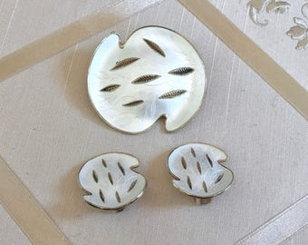 Vintage Oystein Balle Demi Parure Brooch and Earrings in Contemporary Lily Pad Enamel and Sterling Design
