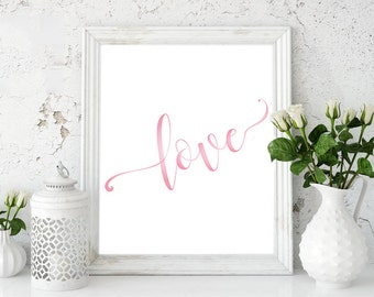 Love illustration, typography art, motivational poster, diy, gift, gift card