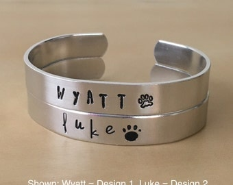 Custom Hand Stamped Dog Bracelet Cuff. Your Dog's Name and Paw Print. Silver or Brass.
