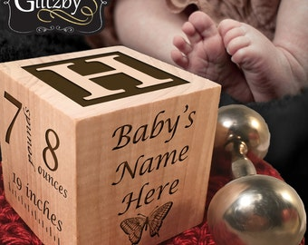 Classic Baby Block in Cherry, New Baby Gift Personalized Customized Newborn Wood Gift