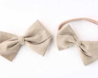Gold Hair Bow - Fabric Hair Bow for Girls and Babies - Nylon Headband or Hair Clips