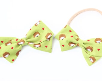 Valentine Collection, Hedgehog bow, Baby Girl, Toddler, Girls Fabric Bow, Newborn, Hand tied bow