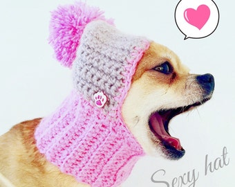 Pink Dog Hat Cozy Crochet Dog Hat Warm Knitted Dog Hat Puppy Chunky Hat Small Winter Dog Hat Dog Costume Knit Dog Clothes Dogs Hats For Dogs