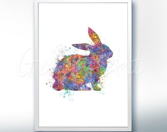 Rabbit Watercolor Art Print  - Home Living - Animal Painting - Rabbit Poster - Wall Decor - Home Decor - House Warming Gift