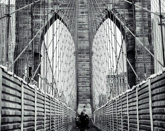 New York City Photography, Brooklyn Bridge Photography, Black and White Brooklyn Bridge, Urban Landscape Print