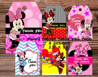 Minnie Mouse Inspired Tags Minnie Tags Minnie Thank You Tags Minnie Party Supplies Minnie Thanks tag Minnie Birthday Party Minnie Mouse Tag