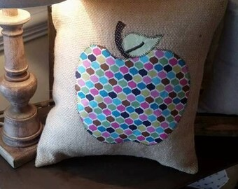 Burlap apple pillow