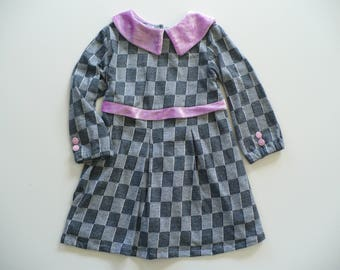 GIRLS GREY DRESS, special occasion dress, birthday dress, girls dress, girls, grey, pink, handmade