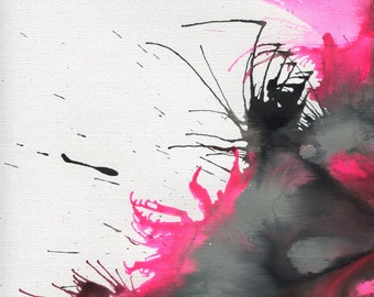 Pink and Black Abstract Art Print