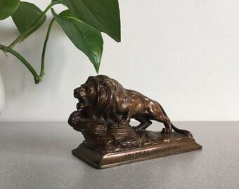 "Vintage Cast Bronze Lion Statue Award of Merit 1948 Patina 4.75"""