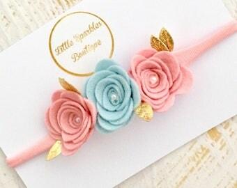 Pink rose headband, blue rose headband, rose crown, baby/girls hairband