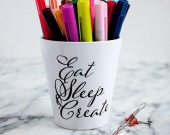 Creativity Quote Pen Holder Desk Tidy, pen tidy, office gift, creative gift, pencil pot, desktop, stationery, colleague gift, pen pot, bujo