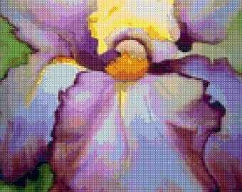 Iris watercolor Cross Stitch pattern PDF - Instant Download!