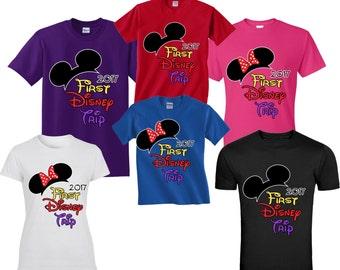 First DISNEY trip FAMILY VACATION 2017 T-Shirts  Disney All Sizes Minnie & Mickey