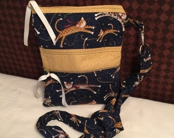 Leaping Cats Cross Body Messenger Bag. Kitty Cats Sling Tote.