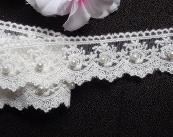 1 1/2 inch wide white off Pearl Lace Trim  1 yard cut