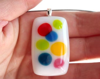 Playful dots //Handmade fused glass pendant // Colors on white // Gift for her