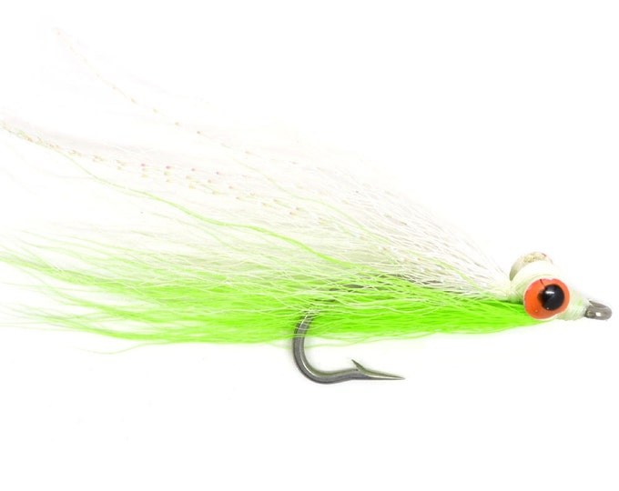 Clousers Minnow Fly Fishing Flies  - Chartreuse and White Clouser Saltwater and Bass Flies - Hook Size 1/0